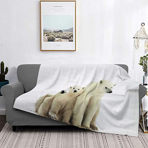 Minalo Personalized Fleece Blanket,Polar She-bear With Cubs. A Polar She-bear With Two Small Bear Cubs,Living Room/Bedroom/Sofa Couch Bed Flannel Quilt Throw Blanket,50' X 40'