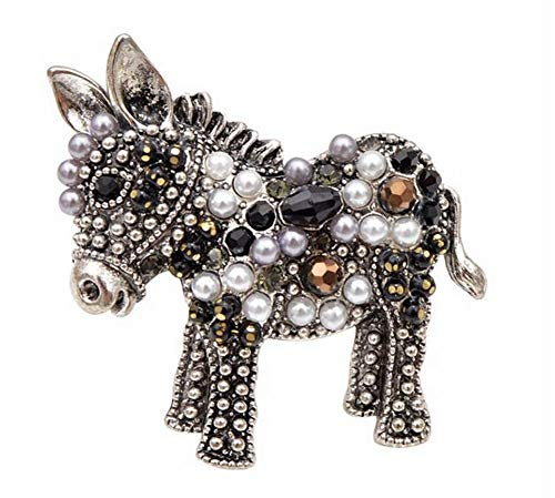 Générique Small Horse or Donkey Pin Brooch Steel and Pearls