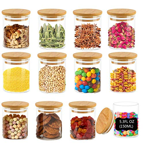 Glass Storage Jars with Bamboo Wood Lids, 177ml /6oz Clear Glass Air Tight...
