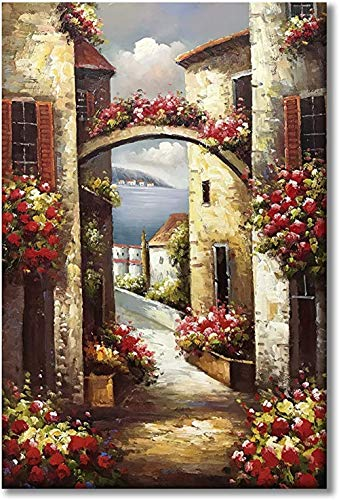 Painted Canvas Wall Art Italy Town Mediterranean Tuscany Sea Coast Flowers Oil Painting Stretched and Framed Ready to Hang Landscape Scenery Wall Decor Canvas Wall Art Print,40X50cm