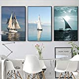 Pintura sin Marco Moda nórdica impresión del Arte minimalismo océano velero Marino Lienzo Mural ZGQ819 60x80cmx3