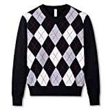 BOBOYOYO Boys Sweater Pullover, Argyly Sweater for Boys, 100% Cotton Cable Knit Sweater for Size 3-12Y Black
