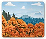 Ambesonne Forest Mouse Pad, Display of Backwoods with Open Sky Mountains and Clouds, Standard Size Rectangle Non-Slip Rubber Mousepad, Orange Pale Blue Army Green