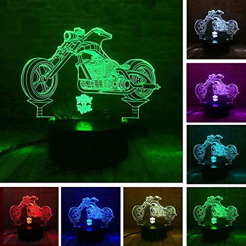 3D-Illusionslampe führte Nachtlicht geboren, um Blitz-Motorrad-Modell zu fahren Leuchtende bunte Berührung Lichterkette Schreibtisch Lamptop Moto-Modell Spielzeug für Kindergeburtstag