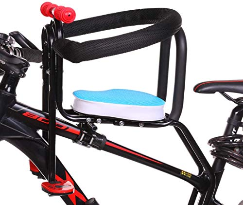 YFJL Asiento de Bicicleta, Asiento de bebé Delantero para niños Portabicicletas con pasamanos y Pedales para Bicicletas de montaña, Bicicletas de Carretera, Bicis de Crucero,Azul