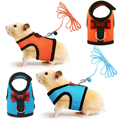 2 Pieces Guinea Pig Harness and Leash Soft Mesh Small Pet Harness with Safe Bell, No Pulling Comfort Padded Vest for Guinea Pigs, Ferret, Chinchilla and Similar Small Animals (S, Light Blue, Orange)