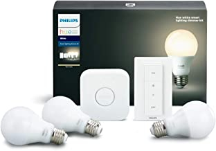 Philips Hue White B Smart Lighting Bundle with 3 A19 Bulbs, Dimmer Switch, and Hub. Compatible with Amazon Alexa Apple Hom...