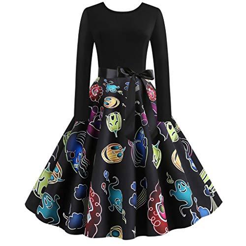 TWIFER Kleider Damen Rockabilly Kleid Lange Ärmel Kleider Festliche Damenkleider Knielang Vintage Party Prom Swing Halloween Kleider (e-Mehrfarbig,M)