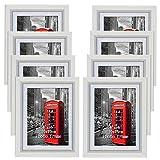 PETAFLOP Marco para Fotos 10x15 cm, Mejores Decoraciones de Pared Clásico,8 Unidades,Blanco