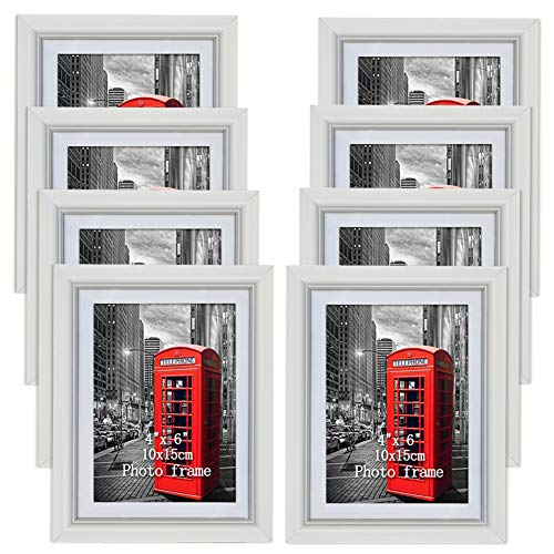 PETAFLOP 8er Set weißer Bilderrahmen ohne Passepartout für Bilder 13x18 und mit Passepartout für Bilder 10x15