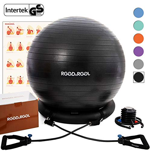 stability ball for yogas Yoga Ball Chair, RGGD&RGGL Exercise Ball with Leak-Proof Design, Stability Ring&2 Adjustable Resistance Bands for Any Fitness Level, 1.5 Times Thicker Swiss Ball for Home&Gym&Office&Pregnancy (65 cm)