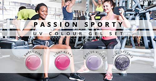 Passion Sporty Farbgel Lot de 4 4 x 5ml-Studio à ongles ensemble color Gel UV pour ongles à modeler professionnelle