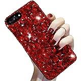 Voller Diamant Hülle für iPhone XS/X,Aearl TPU Silikon Transparent 3D Bling Glitzer Kristall Steinchen Handyhülle Bumper Case Cover mit Displayschutzfolie für für iPhone X/XS 5.8 Zolll,Rot -