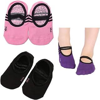 Calcetines Antideslizantes de Algodón para Mujer de 3 Pares Calcetines de Yoga Pilates Invisibles de Corte Bajo con Correas para Niños Niñas Y Niñas Negras