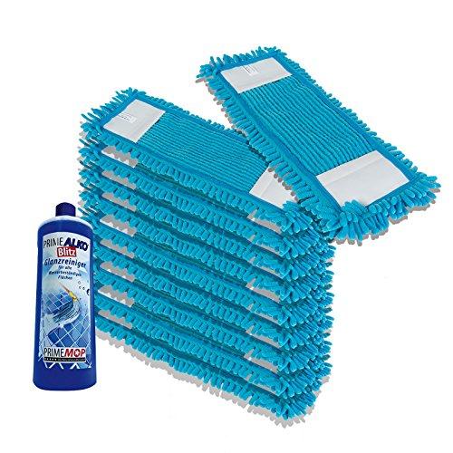 PrimeMop 10x Chenille Wischmopp Microfaser BLAU für Parkett Laminat 40cm Haushalt + Reiniger GRATIS