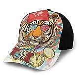 Gorra unisex Hipster Rapper Style Tiger con gafas de sol y Camera Artist Hippie Animal Comic Print Multi Fashion Plain Adjustable Baseball Sun