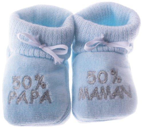 Chaussons bébé brodés 50% papa 50% maman Happy baby bleu/argent 0/3mois