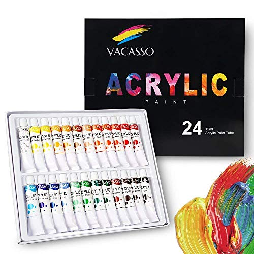 VACASSO Acrylic Paint Set with 12 Vivid Colors, Bonus 3pcs Brushes and Palette, Quality Paint Start Kit for Kids & Adults, Perfect for Art Craft Painting