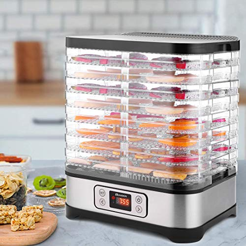 Food Dehydrator Machine, Digital Timer and Temperature Control (95ºF-158ºF), 8 Trays + 400W for Jerky/Meat/Beef/Fruit/Vegetable, BPA Free.