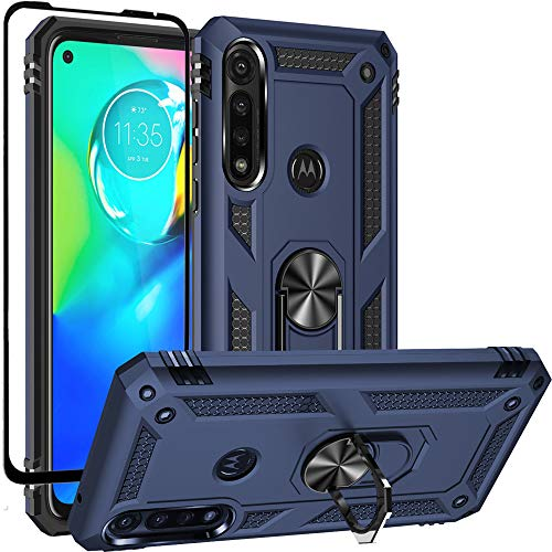 Dretal Moto G Power Case with Tempered Glass Screen Protector, Military Grade Shockproof Protective Case Cover with Rotating Holder Kickstand for Motorola Moto G Power 2020 (Navy)