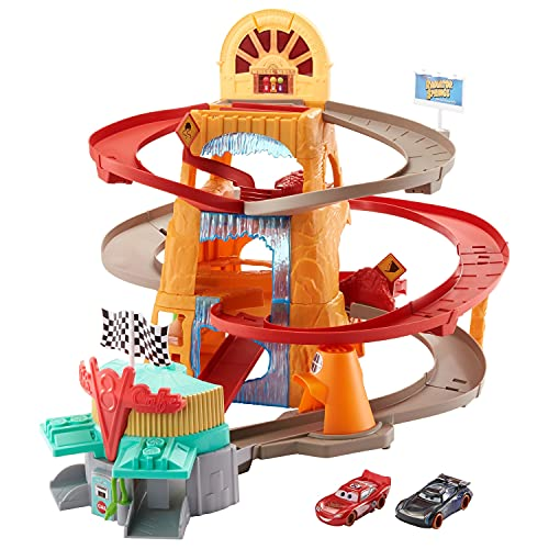 Disney Pixar Cars Radiator Springs Mountain Race Playset, Complete Racing Play with Two Vehicles, Gift for Cars Fans Ages 4 Years and Older