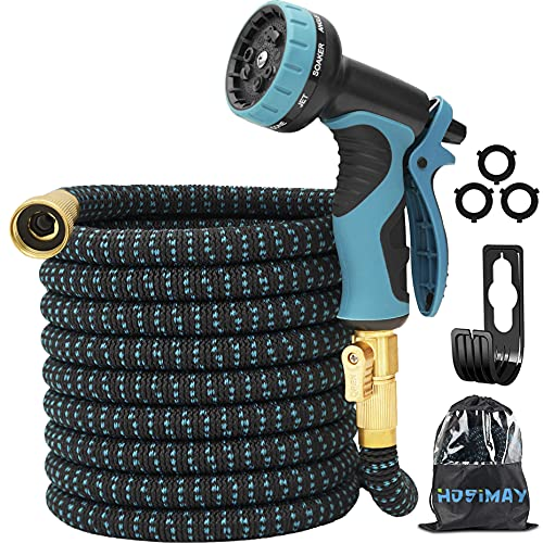 """Expandable Garden Hose 50FT, Lightweight Flexible Water Hose with 9 Function Spray Hose Nozzle, Extra Strength Fabric 3/4 """"Solid Brass Fittings, No Kink, No Leak (50FT)"""