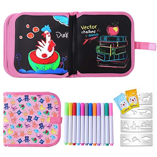Ulikey Portatile da Disegno per Bambini Doodle Disegno Giocattoli per Bambini Libro di Pittura Graffiti Riutilizzabile con 14 Pagine 12 Penne Cancellabili Colorate, Lavagna a Doppia Faccia (Animale)