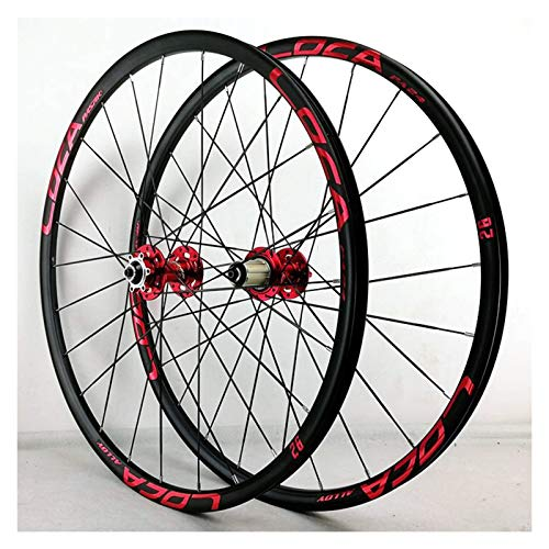 ZFF MTB Wheelset 26/27.5in Ultralight Aluminum Alloy Disc/V Brake Quick Release Cycling Wheels 8/9/10/11/12 Speed (Color : Red, Size : 27.5in)