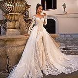 HIN GU - Wedding dress Vestito da Sposa Sexy Sweetheart Maniche Lunghe Abito da Sposa Mermaid Staccabile 2 in 1 Abito da Sposa Abiti da Sposa per la Sposa (Color : Champagne, US Size : 4)