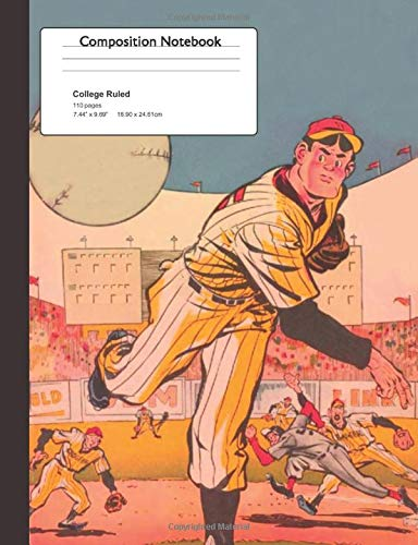 Composition Notebook: College Ruled: Sports - Baseball - Comic Design: Fun Unique Back To School Exercise Study Book Gift For Kids, Boys, Girls, Teenagers, Middle School & College Students
