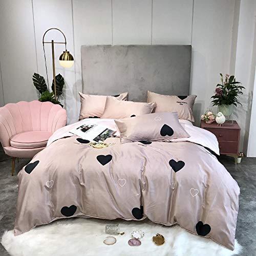 geek cook Homehold Sheets Set,Ice silk duvet cover four-piece summer naked sleeping silk bed linen-heart_1.8【Quilt cover 180 * 220】 4pc suit