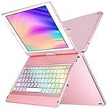 iPad Case Keyboard 10.2 for iPad 8th Generation Keyboard Case iPad 10.2 7th Gen 2019/8th 2020,360° Rotatable-Wireless BT 5.0 Keyboard-10 Color Rainbow Backlit -Slim Protective Cover-iPad 8 Keyboard