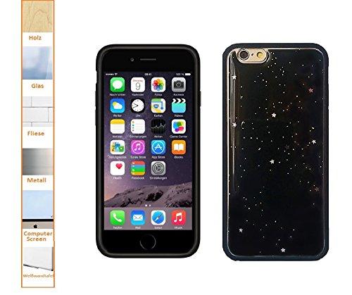 Oli - Custodia anti-gravity per iPhone 6/6S, antiscivolo, autoadesiva, con funzione di ventosa, colore: Nero con stelle