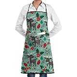 Katrine magasin Noël renne dans la neige réglable bavoir tablier avec 2 poches, cuisine tabliers de cuisine pour femmes hommes chef