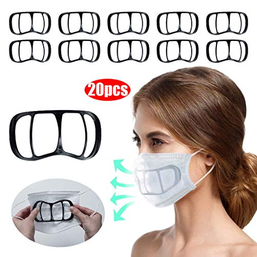 Face Covers Inner Support Frame 3D Bracket for Face Cover Inner Support Frame Bracket More Space for Comfortable Washable Reusable, Lipstick Protection Holder, 3/5/10/15/20/30Pcs (Black, 15pcs)