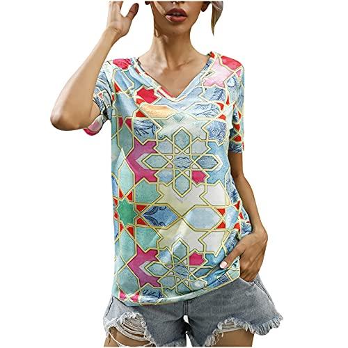 AMhomely Moda Mujer V-cuello Verano Manga Corta Mariposa Impresiones Tops Suelta Camiseta Reino Unido Tamaño Venta Liquidación