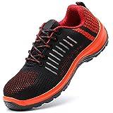 FREEUP Zapatillas de Seguridad para Hombre con Puntera de Acero para Mayor Seguridad Zapatillas de Atletismo ultraligeras,Orange,39EU