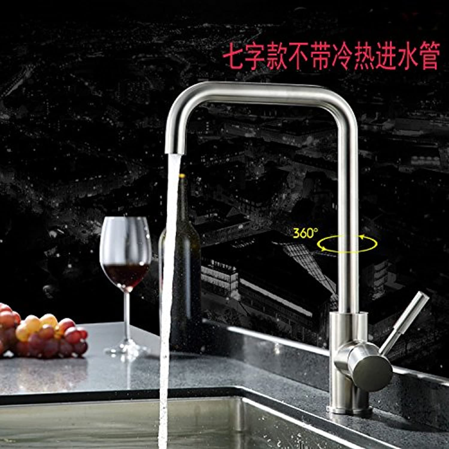Gyps Faucet Basin Tap Waterfall Faucet Kitchen faucet single cold dish washing basin redation brushed sink 304 stainless steel kitchen faucet hot and cold 7 fields with hot and cold water inlet pipe