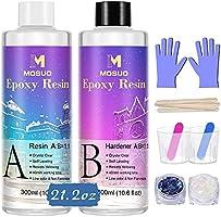 MOSUO Résine Èpoxy transparente non Toxique 629 g/600 ml, 1: 1 Ratio Revêtement en Résine coulée cristalline, Pour Bois,...