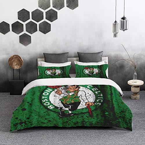nologo Duvet Cover Set, Bed Sheets Bedding, Rugby Boston City Celtics Grunge Eastern Stone Texture Basketball Celtics,1 Duvet Cover Set 200 * 200 cm,2 pillowcase 50x80cm