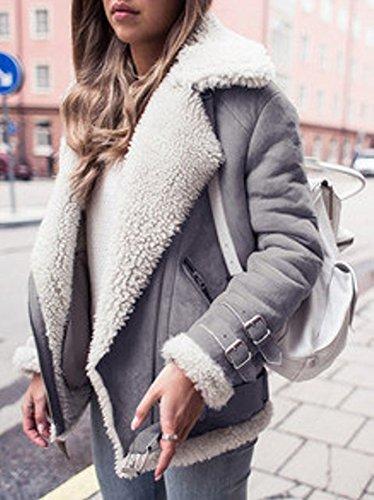 Minetom Damen Mode Warm Casual Streetwear Winter Wildleder Wolle Motorradjacke Mantel Fleece Outwear Jacke Parka Mit Taschen Grau DE 36 - 3