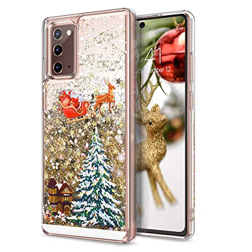 CinoCase Galaxy Note 20 Case 3D Liquid Case [Christmas Collection] Flowing Quicksand Moving Stars Bling Glitter Snowflake Christmas Tree Santa Pattern Hard Case for Galaxy Note 20 6.7 inch Gold