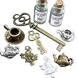 Alice in Wonderland 10 Pcs Steampunk Antique 1ml Drink Me Bottle Vial Jewelry Charm Findings Mix Lot 98