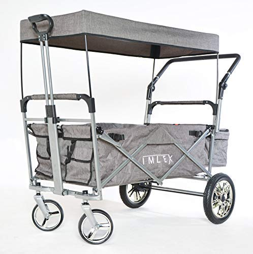 IMLEX IM-2001 Grau Meliert Faltbarer Bollerwagen mit Schiebe u. Zieh Funktion, Große Hinterräder mit Stoßdämpferfederung und Bremse, Chrom Felgen