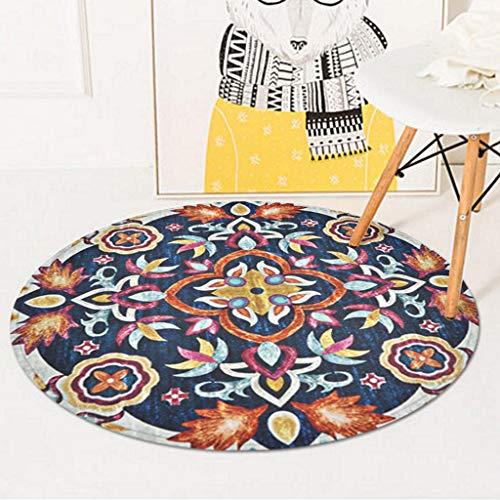 Jiamuxiangsi tapijten vintage tapijten, ronde deurmat, bureaustoelmat, antislip, wasbaar, voor woonkamer, tapijten en pads