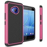 CoverON Heavy Duty Hybrid HexaGuard Series for HTC U11 Life Case, Hot Pink on Black