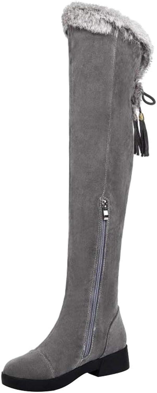CularAcci Women Comfort Low Heel Thigh High Boots
