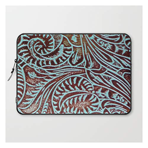 Light Blue & Brown Tooled Leather by The Ghost Town on Laptop Sleeve - Laptop Sleeve - 15'