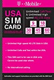 T-mobile Brand USA Prepaid Travel SIM Card Unlimited Call, Text and 4G LTE Data (for use in USA only) (for Phone use only. NOT for Modem/WiFi Devices) (30 Days)