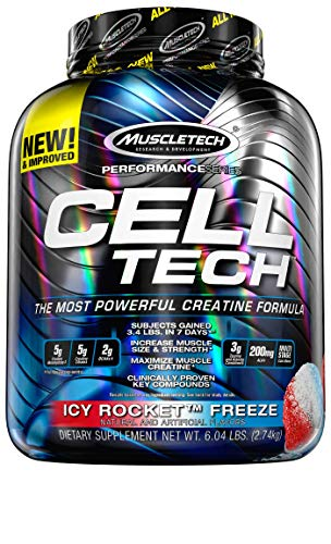 MuscleTech Cell Tech Performance Series   Post-Workout Mass Gainer   Ultimate Hardgainer   With Creatine Monohydrate & BCAA   6.04 lbs (2.74 Kg)   Icy Rocket Freeze